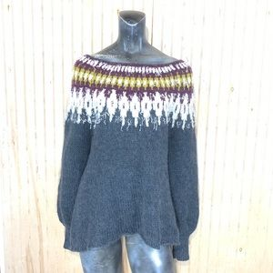 Free People UO XS Baltic Fair Isle Sweater Alpaca